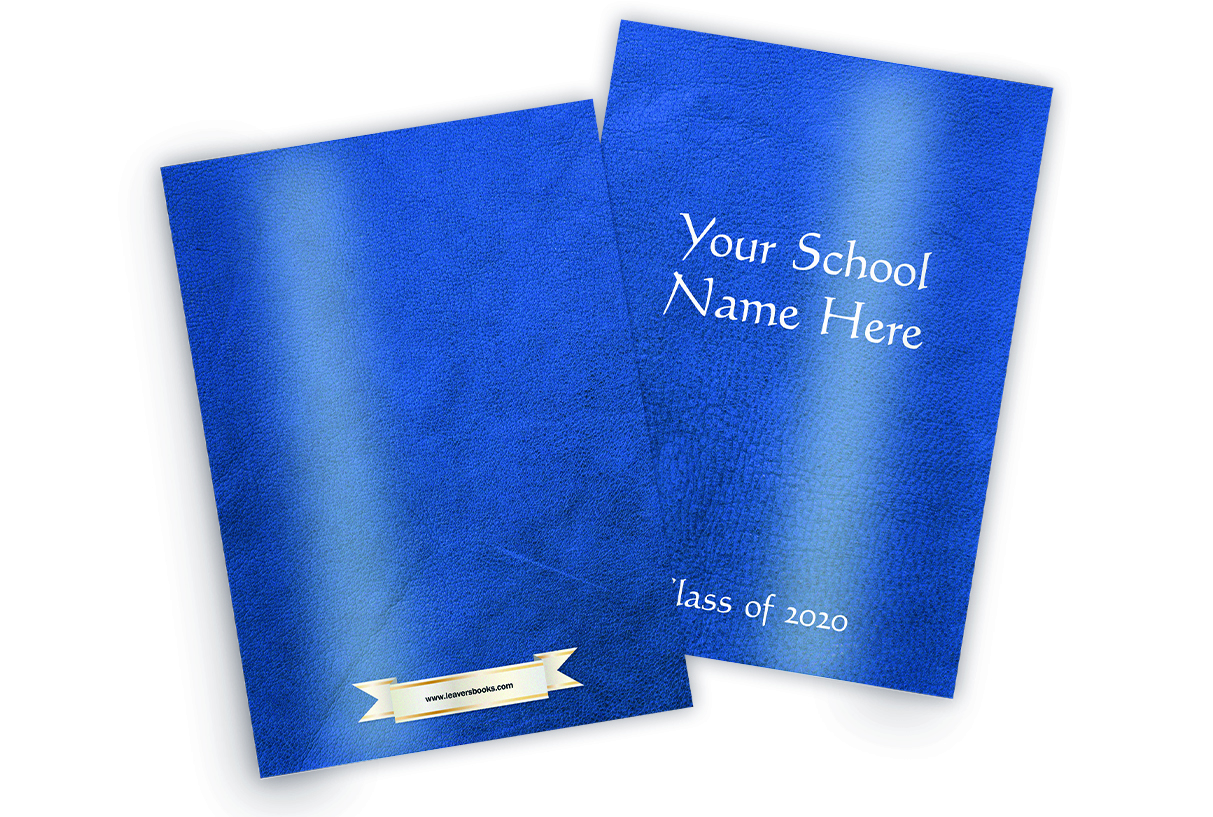 Leather Blue Yearbook Covers
